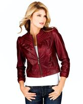 Doma leather corded-neckline leather jacket
