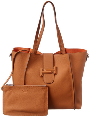 Tod's Double T Logo Leather Tote