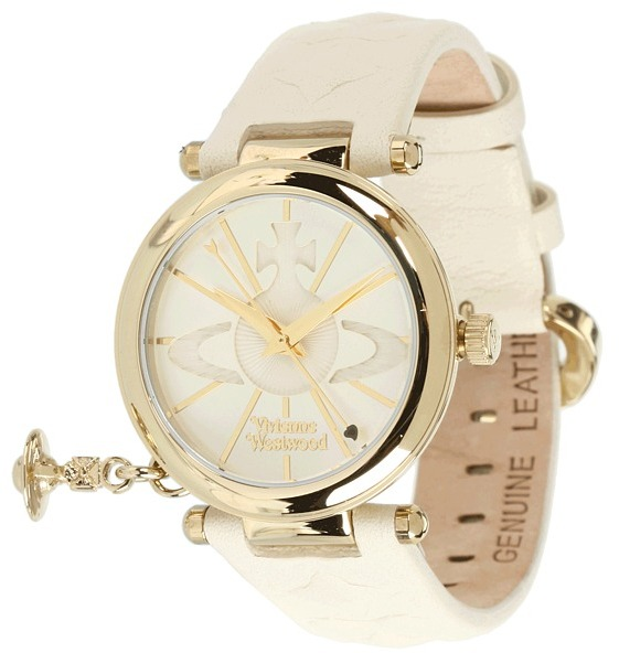 Vivienne Westwood Vivienne Wetwood Orb II Quartz Watch With White Dial Analogue Diplay and Leather Strap VV006WHWH Watche