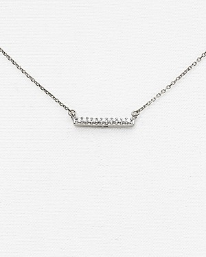 Adina Reyter 14K White Gold Pave Diamond Bar Necklace, 15