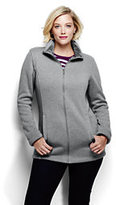 Classic Women's Plus Size Plush Sweater Fleece Parka-Ivory/Midnight Indigo Stripe