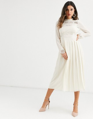 Asos Design DESIGN high neck pleated midi dress with lace inserts-Cream