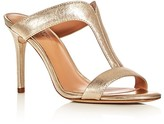 Halston Arya Metallic T-Strap Slide Sandals