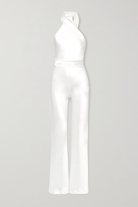 Galvan Asymmetric Satin Halterneck Jumpsuit - White