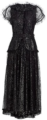Rodarte Flocked Tulle Sequin Ruffle Midi Dress