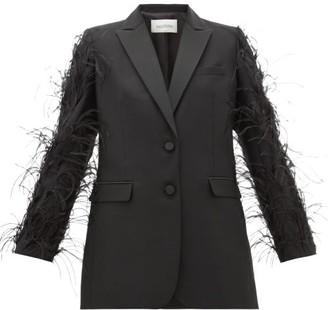 Valentino Feather-trimmed Wool-blend Blazer - Black