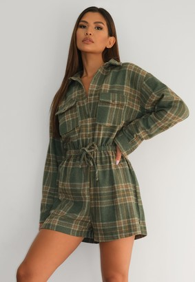 Missguided Green Brushed Flannel Drawstring Playsuit