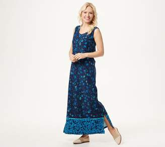 Denim & Co. Border Print Sleeveless Scoop-Neck Maxi Dress