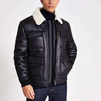 River Island Mens Black shearling flight jacket