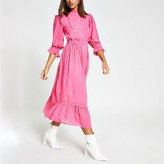River Island Pink embroidered long sleeve midi dress