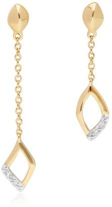 Gemondo Asymmetric Diamond Pave Dangle Earrings In Yellow Gold