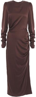 Zimmermann Ruched Drape Stretch-silk Satin Midi Dress