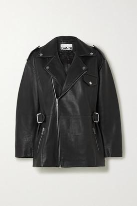 Ganni Oversized Textured-leather Biker Jacket - Black