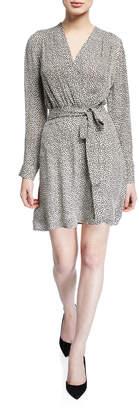 L'Agence Diego Printed Silk Faux-Wrap Short Dress