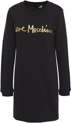 Love Moschino Metallic Appliqued French Cotton-terry Mini Dress