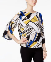 Kasper Printed Split-Sleeve Blouson Top