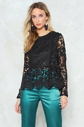 Nasty Gal Womens Lace To Lace Peplum Blouse - Black - 6, Black