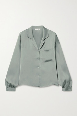 Anine Bing Lilah Silk Crepe De Chine Shirt - Gray