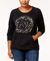 Style&Co. Style & Co Plus Size Embroidered Holiday Graphic Sweathshirt, Created for Macy's