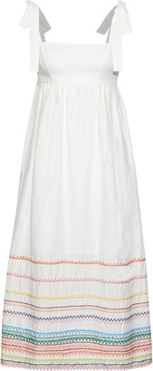 Zimmermann Laelia Embroidered Linen And Cotton-blend Midi Dress