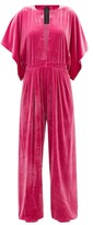 Thumbnail for your product : Norma Kamali V-neck Pleated Velvet Jumpsuit - Pink