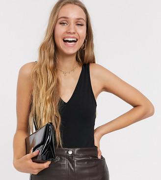 Asos DESIGN Tall organic cotton v neck singlet bodysuit in black