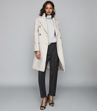 Reiss Alyx - Wool Blend Double Breasted Coat in Grey Melange
