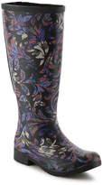 Chooka Women's Flex Fit Brocade Rain Boot -Black/Multicolor Floral
