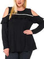 Celeste Black Contrast-Seam Cutout-Shoulder Top - Plus