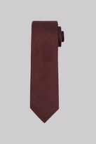 Moss Bros Wine and Navy Spot Silk & Wool Blend Tie