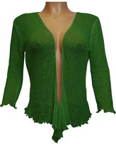 Ikat Ladies Crochet Fish Net Bolero Shrug Maternity Tie at Waist Cardigan