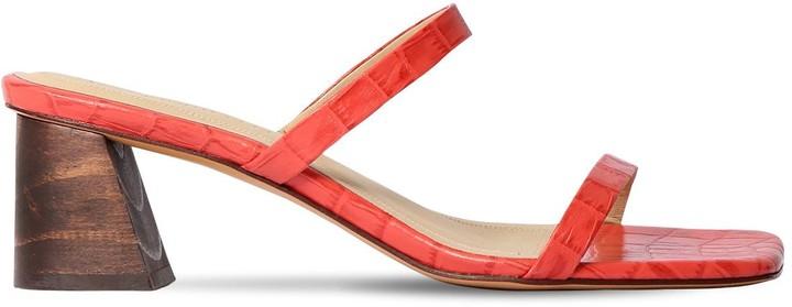 Mari Giudicelli 60mm Croc Embossed Leather Sandals