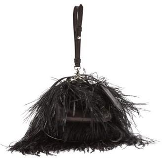 Marques Almeida Marques'almeida - Feather-embellished Leather Cross-body Bag - Womens - Black