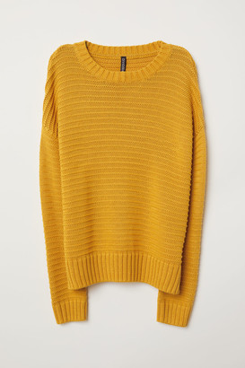 H&M Textured-knit Sweater - Yellow