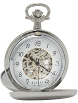 Dakota Men's Silver Mechanical Pocket Watch
