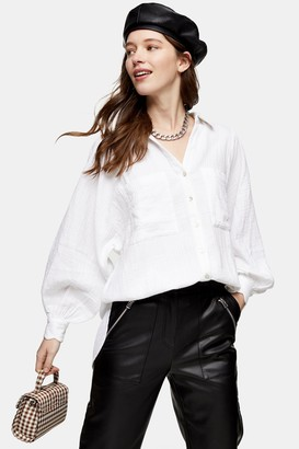 Topshop Womens White Cotton Casual Shirt - White