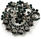 Avalaya Emerald Green&Jet-Black Diamante Corsage Brooch (Silver Tone)