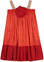 Lanvin POPLIN-TRIMMED SATIN DRESS-RED SIZE 10