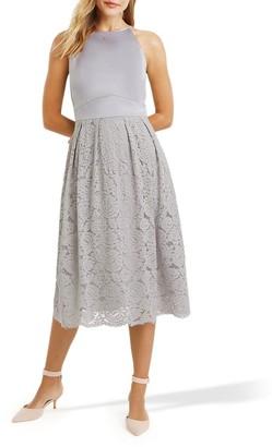 Oasis Satin Bodice Lace Midi Dress