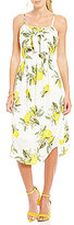 Moon River Lemon Print Tie Front Midi Dress