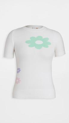 JoosTricot Intarsia Flower Short Sleeve Crew Neck