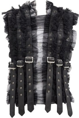 Noir Kei Ninomiya Faux Leather-strap Ruffled Mesh Top - Black