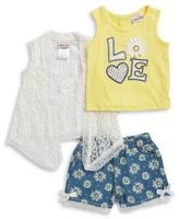 Little Lass Baby Girls Daisy Tank, Lace Topper and Graphic Shorts Set