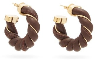 Bottega Veneta Leather & 18kt-gold Plated Hoop Earrings - Brown