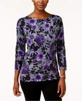 Karen Scott Floral-Print Sweater, Only at Macy's