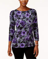 Karen Scott Petite Printed Sweater, Created for Macy's
