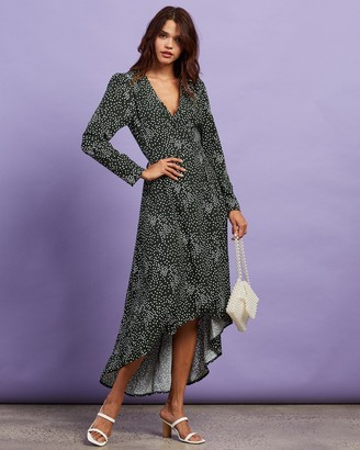 Missguided High Low Wrap Midi LS Polka Dot Dress