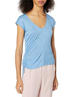 Soul Cake Women's V Neck Fitted Top with Shirred Sides