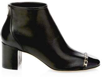 Salvatore Ferragamo Atri Cap-Toe Leather Ankle Boots