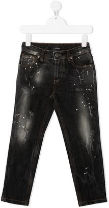 John Richmond Junior Sid paint-splatter regular jeans